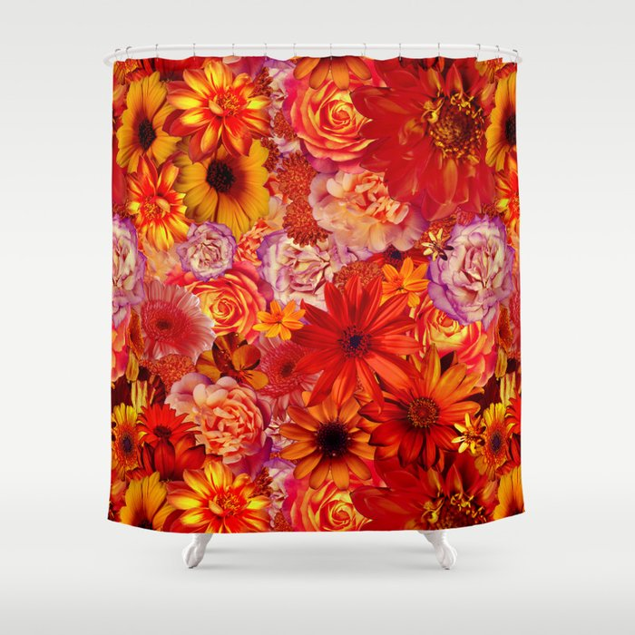 Rojo Bouquet Rich Red Hot Mixed Flowers Bright Floral Autumn Shower Curtain
