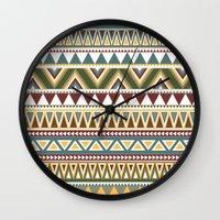aztec Wall Clocks featuring Aztec by Dianne Delahunty