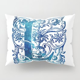 Letter L Antique Floral Letterpress Pillow Sham