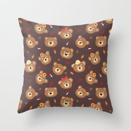 Brown Bear Heads Repeating Pattern Throw Pillow