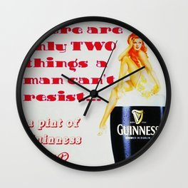 There are only two things men cannot resist Vintage Guinness Beer Advertisement Poster Wall Clock