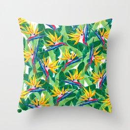 Summer Strelitzia Throw Pillow