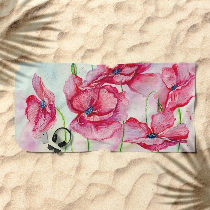 Poppies dance Beach Towel