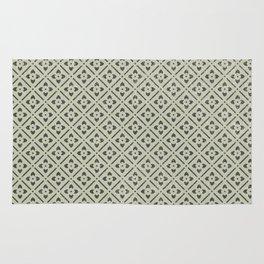 Vintage chic green black geometrical floral pattern Rug