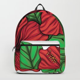 Bouquet of hibiscus flower and tropical leaves Backpack