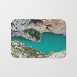 Blue river between the cliffs Bath Mat