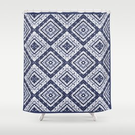 Strict , white blue ornament. Shower Curtain