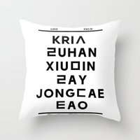 """exo Throw Pillows featuring EXO M- Hangeul: """"Love City"""" Inspired by 00yu"""