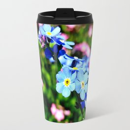 Pink And Blue Forget Me Nots Travel Mug
