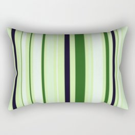 Black Light Blue and Shades of Green Stripes Rectangular Pillow