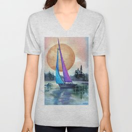Sailing Lake Superior by Maureen Donovan Unisex V-Neck