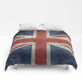 UK Flag, Dark grunge 3:5 scale Comforters