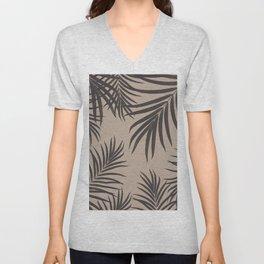Palm Leaves Pattern Sepia Vibes #1 #tropical #decor #art #society6 Unisex V-Neck