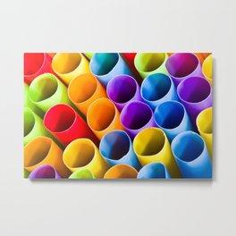 Macro Colorful Straws Metal Print