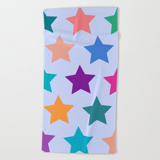 Colorful Stars Beach Towel