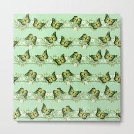 Green butterflies pattern Metal Print