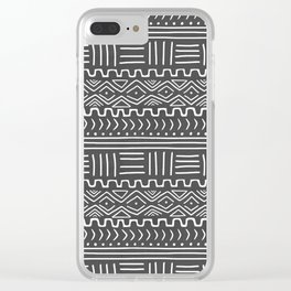 Mud Cloth on Gray Clear iPhone Case