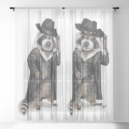 """ Raccoon Bandit "" funny western raccoon Sheer Curtain"