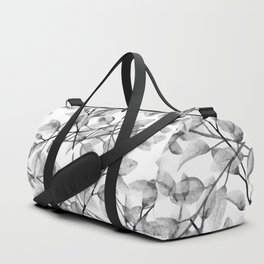 Delicate Leaves In Black And White Duffle Bag