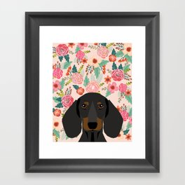 Dachshund florals cute pet gifts black and tan dachshund gifts for dog lover with weener dog Framed Art Print
