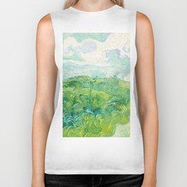 Green Wheat Fields - Auvers, by Vincent van Gogh Biker Tank
