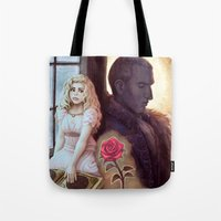 beauty and the beast Tote Bags featuring Beauty & the Beast by the-untempered-prism
