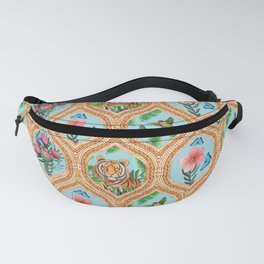 Tiger , protea, hibiscus, palm ogee pattern in watercolor Fanny Pack