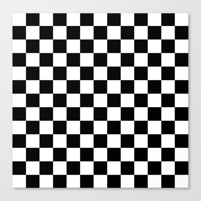 race flag black and white checkerboard canvas print by