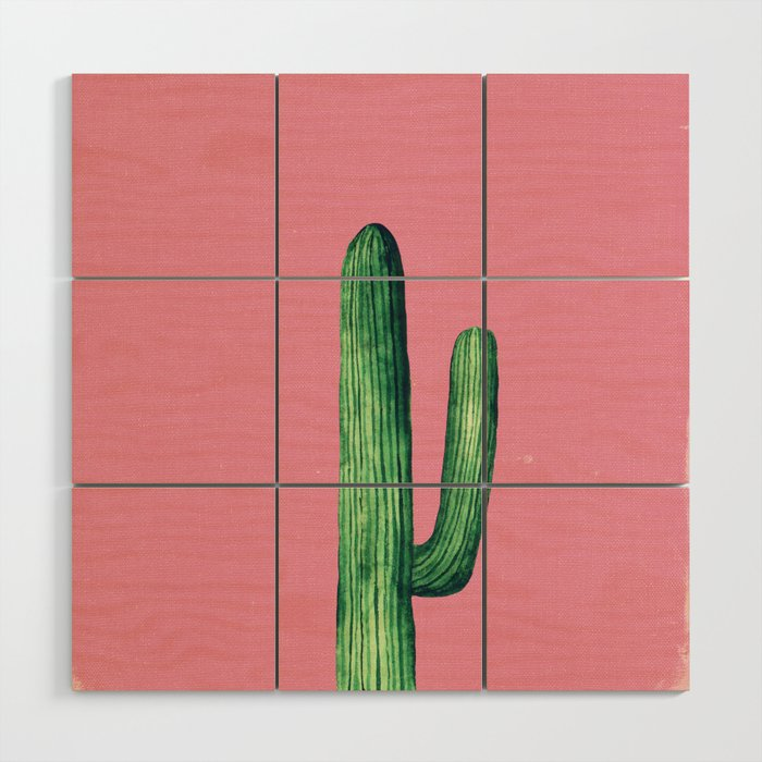Plants On Pink Illustration Cactus Art Gift For Her Home Decor Wood