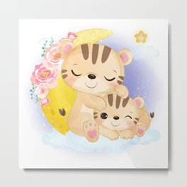 Cute tiger family on a cloud with a half moon Metal Print