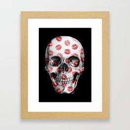 Kisses Skull Black Framed Art Print