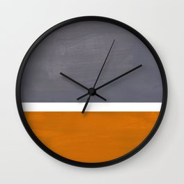 Grey Yellow Ochre Rothko Minimalist Mid Century Abstract Color Field Squares Wall Clock