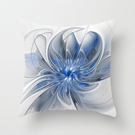 Abstract Art with Blue Throw Pillow