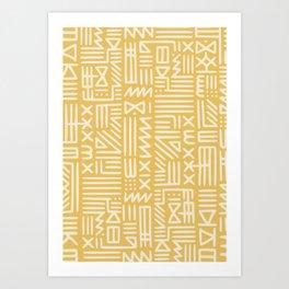 Mudcloth in yellow ochre Art Print