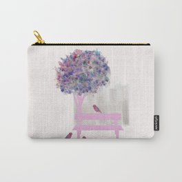Park bench tree and birds Carry-All Pouch