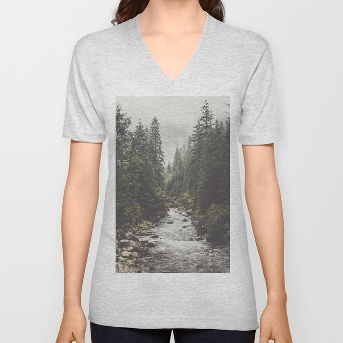 Mountain creek - Landscape and Nature Photography Unisex V-Neck