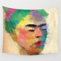 frida kahlo Wall Tapestries featuring frida kahlo by vale agapi