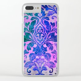 Blue Damask Pattern Clear iPhone Case