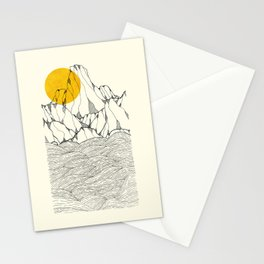 Sun and sea cliffs Stationery Cards