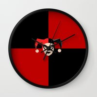harley quinn Wall Clocks featuring Harley Quinn by Electra