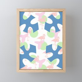 Flamingo blues motif Framed Mini Art Print