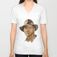 indiana jones V-neck T-shirts featuring Indiana Jones by Ashley Anderson