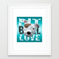 pit bull Framed Art Prints featuring Pit Bull by Benjamin Ring