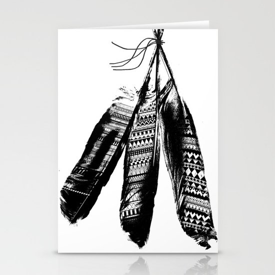 Tribal Feather Trio Stationery Cards