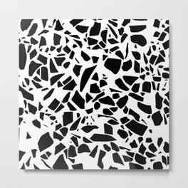 Terrazzo Black on White Metal Print