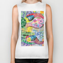 Hippy Fish in Rainbow Glow Biker Tank