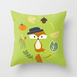 Cute fox in autumn II Throw Pillow