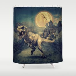 Dinosaurs in the ruins by GEN Z Shower Curtain