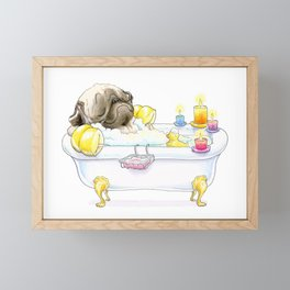 Pug in the Tub (fawn) Framed Mini Art Print