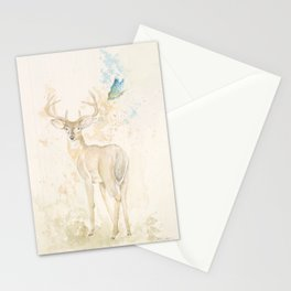 Deer and butterfly Stationery Cards